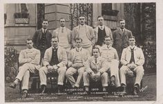Black and white photographic postcard of the 1909 Cambridge University Boat race crew. Copyright River & Rowing Museum