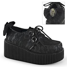 "3""(7.5cm) Platform Creeper with allover lace overlay, back bow and skeleton hand…"
