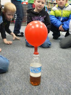 States of Matter: Baking Soda in a balloon, on top of a bottle filled with vinegar makes a gas and fills up the balloon.
