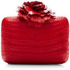 Nancy Gonzalez Red Crocodile Skin Clutch     clutch bags