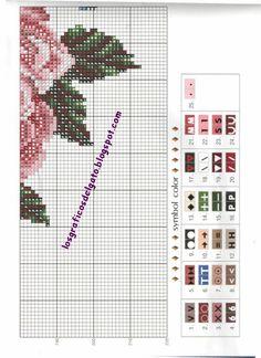 Precioso gráfico de un reloj con jaula y rosas...