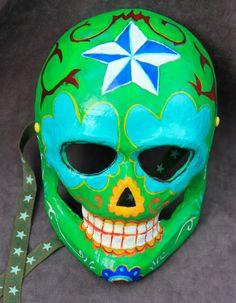 Lucha libre inspired Dia de los muertos mask by BlueGooseStudios, $25.00