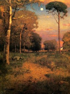 "Style ""Tonalism"" - WikiArt.org George Inness,  Early Moonrise, Florida.  Maybe copy this.  I love tonalism."
