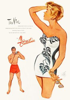 Catalina vintage swimwear / bathing suit ad, 1950. #vintagebathingsuit  #1950s