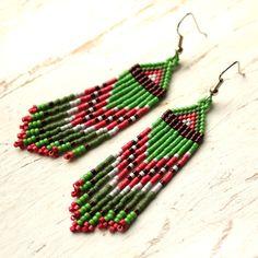 Handmade artisan earrings Long hippie earrings by HappyBeadwork