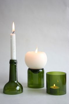 Candle holders made out of wine bottles