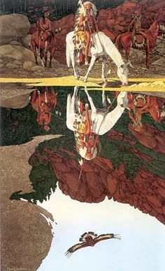 Bev Doolittle - Illusion art - what can u see? American Indian Art, Native American Indians, Bev Doolittle Prints, Illusion Art, Native Art, Equine Art, Illustrations, Horse Art, Beautiful Paintings