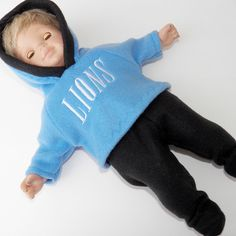 "bitty baby clothes boy or 15"" doll twin hoodie Blue Black  2pc pants football  #handmadebyLynnette #ClothingShoes"