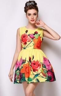 Żółta Letnia Sukienka Casualowa w Duże Kwiaty