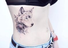 Grey wolf on ribcage by Banul