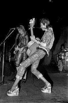 David Bowie & Mick Ronson on stage during the Ziggy Stardust tour, December 1972.