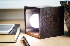 wooden lamp CUBE#9 handmade. dark brown bog oak desk lamp. wood lamp.