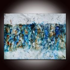 Large Abstract Mixed Media Painting by Andrada  Blue 5  by andrada