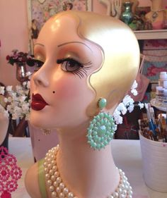 OOh I have one, her name is Betty. LOVE. ART DECO FLAPPER Mannequin Head  Ready to Ship by nostalgiccorner, $349.99