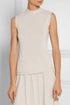 Elie Saab - Pointelle-trimmed Jersey Top - SALE20 at Checkout for an extra 20% off