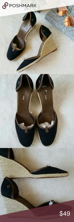 Anthropologie Canvas/Leather Espadrilles/Wedges Anthropologie Daniblack Navy/Tan Canvas Espadrilles with leather trims. Size 9.5. 3 inch heels. New without a box. Anthropologie Shoes Espadrilles