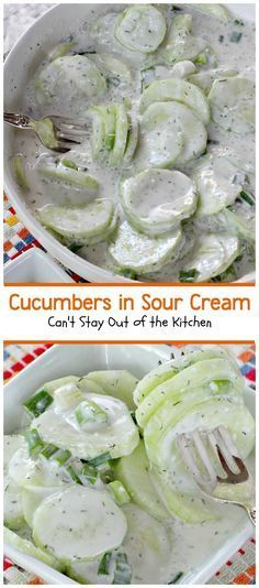 Cucumbers in Sour Cream | Can't Stay Out of the Kitchen | quick and easy #salad that's great for any summer fare or holiday barbecues. #glutenfree #cucumbers