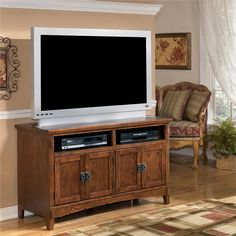 Ashley Furniture Cross Island 50 Inch Oak TV Stand with Mission Style Hardware - Wayside Furniture - TV or Computer Unit Akron, Cleveland, Canton, Medina, Youngstown, Ohio