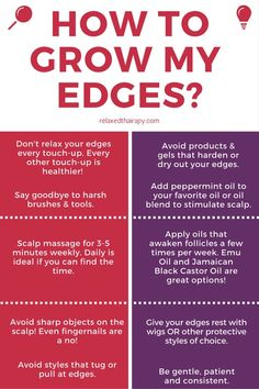 How to grow my edges back is a question that many of us have asked and researched? The answer is here! Here are 10 steps to repair thin edges. relaxedthairapy.com