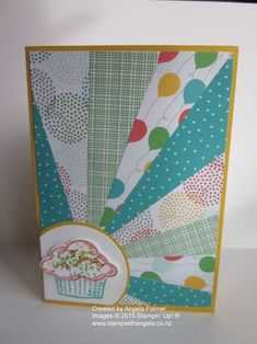 Sunburst Card To Use Up Paper Scraps | Stamp With Angela