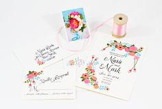pink and aqua floral wedding invitations from Behold Designz