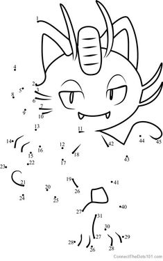 Alola Meowth Pokemon Sun And Moon Dot To Dot - Printable Coloring Pages
