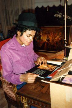 MJJ at his desk *or A desk*