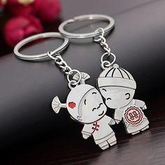 1 Pair Boy and Girl Bride Groom Keychain Couple Lover Keyring Gift Wedding Keyfob BEFE #Affiliate