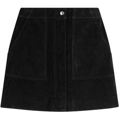 Rag & Bone Suede Mini-Skirt (7.487.705 VND) ❤ liked on Polyvore featuring skirts, mini skirts, bottoms, saias, black, fitted mini skirt, retro mini skirt, short skirts, zipper skirt and suede skirt