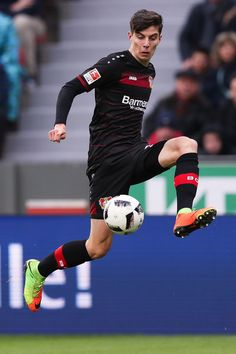Kai Havertz Photos - Kai Havertz of Leverkusen controls the ball during the Bundesliga match between Bayer 04 Leverkusen and FSV Mainz 05 at BayArena on February 2017 in Leverkusen, Germany. - Bayer 04 Leverkusen v FSV Mainz 05 - Bundesliga Soccer Match, Football Players, My Boyfriend, Kai, Superstar, Kicks, Germany, Sporty, Club