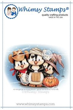 """Penguin Trick or Treaters"" digital stamp designed by Crissy Armstrong for Whimsy Stamps.All Whimsy Stamps digital image stamps are JPG images for optimal print quality. Digital images can be."