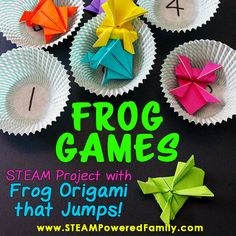 Origami kids will love! Make origiami frogs that jump then create educational games such as math games or sight games that will have kids leaping for joy! A great STEAM education activity for elementary. Frog Activities, Frog Games, Dementia Activities, Steam Activities, Activity Games, Learning Activities, Elderly Activities, Brain Games, Math Games