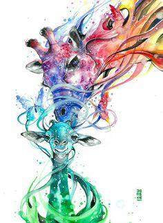 Watercolor Paintings Of Animals, Animal Paintings, Sculpture, Bored Panda, Lovers Art, Wallpaper Backgrounds, Watercolor Tattoo, Magic, Positivity