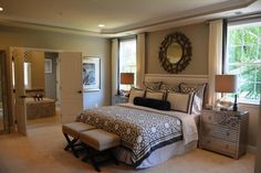 Contemporary Master Bedroom with French doors, Foxy 3-drawer Mirrored Stripe Accent Chest, Shaw Carpet - Beige, Crown molding