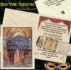 Old Hollywood glamour wedding invitation
