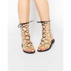 d0cff233576 Missguided Geometric Lace Up Flat Sandals ( 51) ❤ liked on Polyvore  featuring shoes