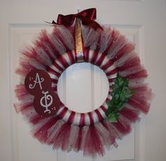 Alpha Phi Wreath, I sure do wish I could have made one of these in college to hang on my apartment door! AOE