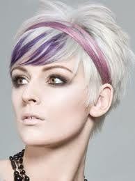 short hair with purple strip.