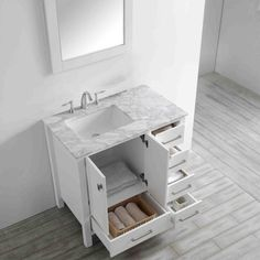 Bathroom Mirror Cabinet, White Vanity Bathroom, Mirror Cabinets, Vanity Set, Modern Bathroom, Medicine Cabinets, Bathroom Basin, Bathroom Vanities, Granite Vanity Tops