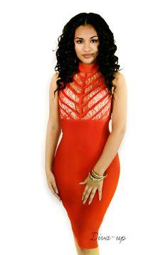 Red bandage dress, sleeveless.