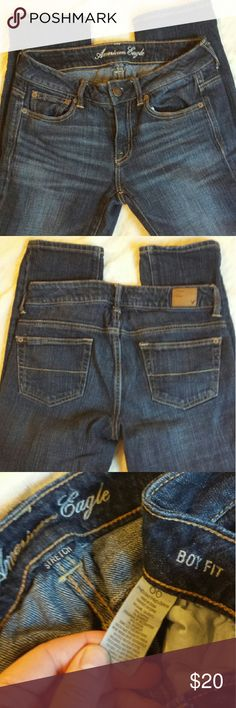 "SALE American Eagle American Eagle cropped boyfriend jeans in excellent condition. Inseam is 24"" and waist is 30"". Dark blue wash. They are waaaay too tight on me. I am a size 6. They should be a loose, boyfriend fit. American Eagle Outfitters Jeans Ankle & Cropped"