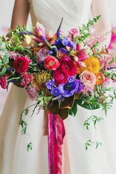 This bouquet was only the tip of this incredibly colorful wedding iceberg