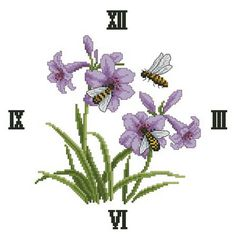 Gallery.ru / OC-26-204 Осы и Пчёлы - ЧАСЫ от DOME & Otwo Disign & CMC - NataVosk Fruit Flowers, Blue Flowers, Close Image, Cross Stitch, Embroidery, Purple, Plants, Arrow Keys, Clocks