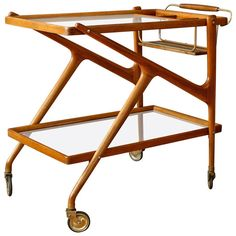 Vintage Mid-Century Italian Bar Cart by Salca | From a unique collection of antique and modern bar carts at https://www.1stdibs.com/furniture/tables/bar-carts/