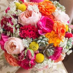 celosia, billy balls, garden roses, Queen Ann's lace, succulent bridal bouquet.