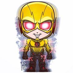 Fan Art of Reverse Flash and Cisco for fans of Eobard Thawne/Dr. Marvel Vs, Chibi Marvel, Cartoon Drawings, Cartoon Art, Cute Drawings, Reverse Flash, Vision Marvel, Chibi Superhero, Logo Super Heros