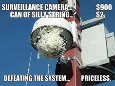 Surveillance Camera = $900... Can of Silly String = $2 .... Defeating the System = Priceless