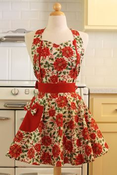 Apron Christmas Poinsettia MAGGIE by Boojiboo on Etsy, $28.75