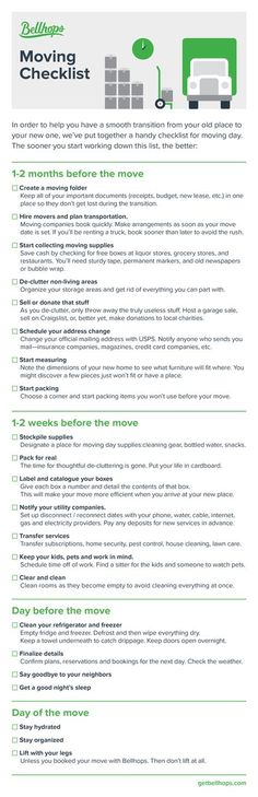 Moving Checklist   Pinteres