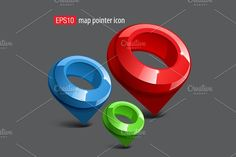 Map pointer icons by Sunny on @creativemarket